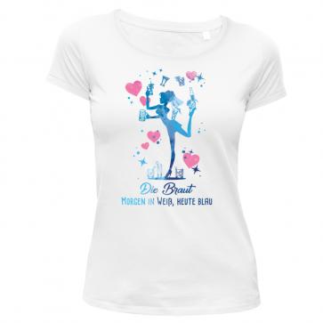 Blaue Braut Damen T-Shirt Weiß