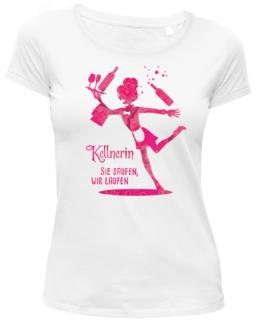 Kellnerin in weiß Damen T-Shirt