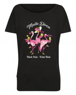 MalleDiven Flamingo Damen Batwing T-Shirt